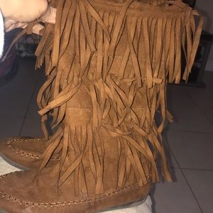 Layered Fringe Brown Boots